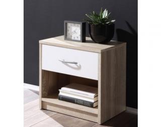 Noční stolek Pepe, dub sonoma/bílá