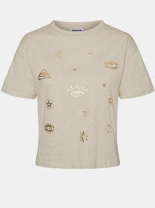 Noisy May béžové dámské tričko Brandy s potiskem - M dámské béžová M