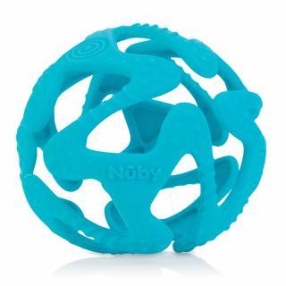 NUBY Kousátko silikonový míč světle modrý 3m  tyrkysová