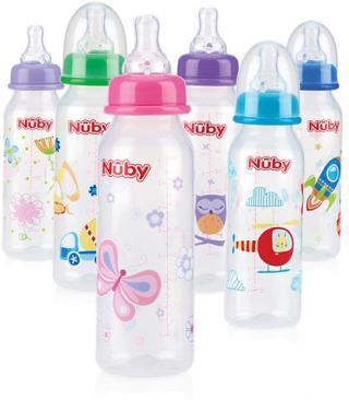 NUBY Láhev kojenecká 1-2-3 průtok, 3m   mix barev