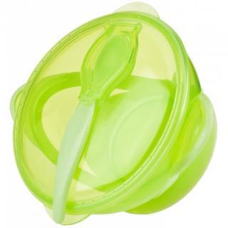 NUBY Miska s přísavkou víčkem a lžičkou 6 m  zelená