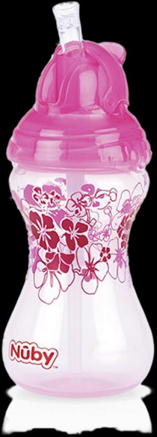 NUBY Netekoucí hrnek Clik-It se zaklapávacím brčkem Flip-It™, 300 ml, růžový