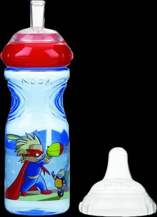 NUBY Netekoucí láhev se silikonovým pítkem 300 ml, 9 m , modrá s červeným víčkem – superhrdina