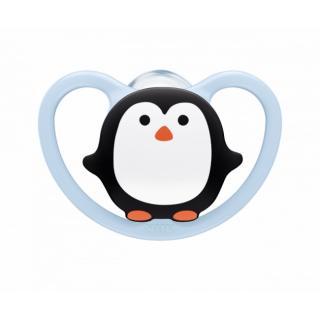 NUK Dudlík Space, silikon, V2, 6-18 m tučňák modrá