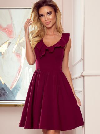 Numoco vínové šaty s volánem - S dámské S