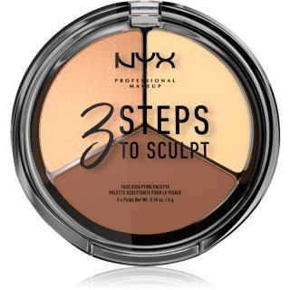 NYX Professional Makeup 3 Steps To Sculpt konturovací paletka odstín 03 Medium 15 g dámské 15 g