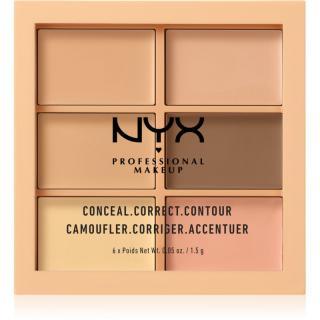 NYX Professional Makeup Conceal. Correct. Contour konturovací a korekční paletka odstín 01 Light 6 x 1,5 g dámské 6 x 1,5 g
