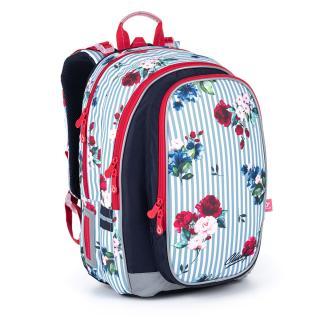 Objemný batoh zdobený proužky a růžemi Topgal MIRA 21008 G,Objemný batoh zdobený proužky a růžemi Topgal MIRA 21008 G dámské 41 cm