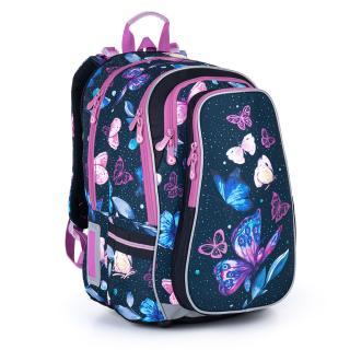 Objemný modrý batoh s motýlky a fialovými detaily Topgal LYNN 21007 G,Objemný modrý batoh s motýlky a fialovými detaily Topgal LYNN 21007 G dámské 44 cm