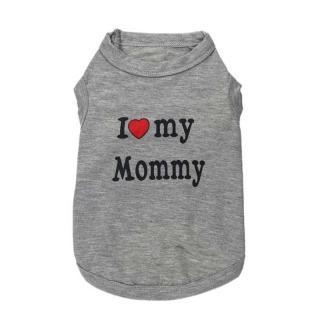 Obleček pro kočku I LOVE MY MOMMY, I LOVE MY DADDY Barva: šedá, Velikost: XS, Varianta: I love my mommy