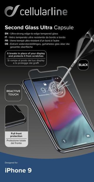 Ochranné tvrzené sklo pro Cellularline Capsule pro Apple iPhone XR/11, černé
