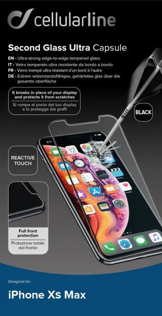 Ochranné tvrzené sklo pro Cellularline Capsule pro Apple iPhone XS Max/11 Pro Max, černé