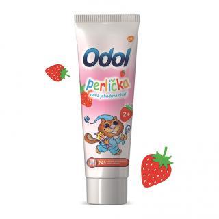 ODOL Perlička nová jahodová chuť zubní pasta 50 ml růžová
