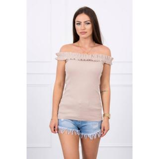 Off-the-shoulder blouse with frills beige dámské Neurčeno One size