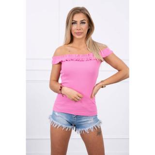 Off-the-shoulder blouse with frills light pink dámské Neurčeno One size