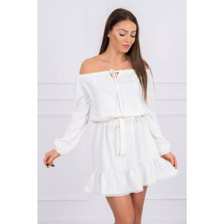 Off-the-shoulder dress and lace ecru dámské Neurčeno One size