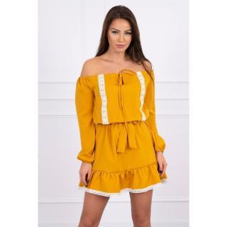 Off-the-shoulder dress and lace mustard dámské Neurčeno One size