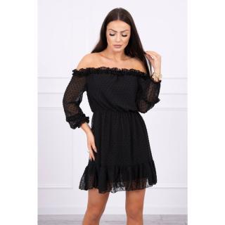 Off-the-shoulder dress with frills black dámské Neurčeno One size