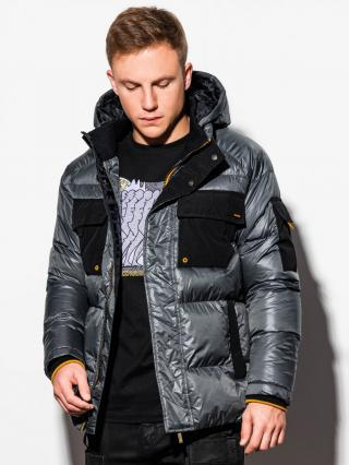 Ombre Clothing Mens mid-season quilted jacket C457 pánské DARK GREY S
