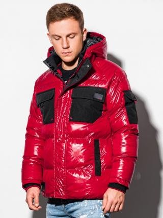 Ombre Clothing Mens mid-season quilted jacket C457 pánské Red S