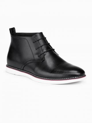 Ombre Clothing Mens natural leather shoes T318 pánské Black 41
