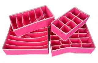 Organizer na spodní prádlo - 4 ks Barva: růžová