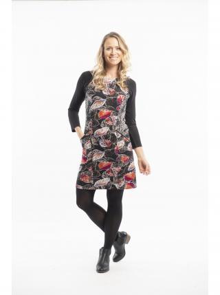 Orientique černé šaty La Peiosa s barevnými listy dámské černá XXL