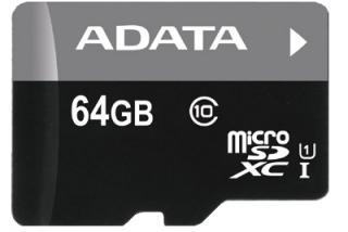 Paměťová karta ADATA 64GB MicroSDXC Class 10 Premier, 50MB/s s adaptérem