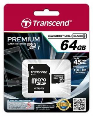 Paměťová karta Trancend MicroSD 64GB, class 10, UHS-1
