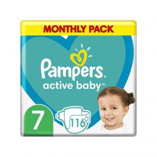PAMPERS Active Baby 7  116 ks měsíční balení - jednorázové pleny zelená