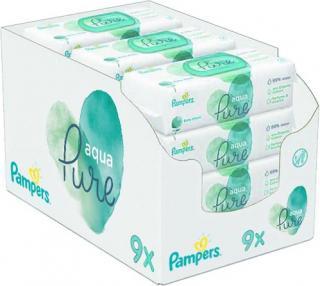 PAMPERS Aqua Pure vlhčené ubrousky 9 x 48 ks bílá