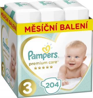 PAMPERS Premium Care 3 MIDI 204 ks  MĚSÍČNÍ ZÁSOBA – jednorázové pleny tyrkysová