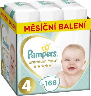 PAMPERS Premium Care 4 MAXI 168 ks  MĚSÍČNÍ ZÁSOBA – jednorázové pleny tyrkysová