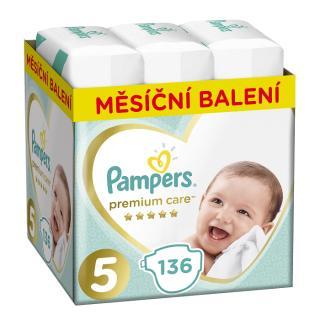 PAMPERS Premium Care 5 JUNIOR 136 ks  MĚSÍČNÍ ZÁSOBA – jednorázové pleny tyrkysová