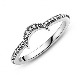 Pandora Oslnivý stříbrný prsten s kamínky Crescent Moon 199156C01 54 mm dámské