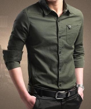 Pánská elegantní košile - 4 barvy Barva: armádní zelená, Velikost: XS