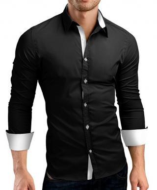 Pánská košile Karl - 2 barvy Barva: černo-bílá, Velikost: XXL