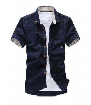 Pánská košile s krátkým rukávem - 5 barev Barva: tmavě modrá, Velikost: XXS