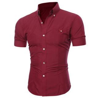 Pánská košile s krátkým rukávem A1466 Barva: červená, Velikost: XS