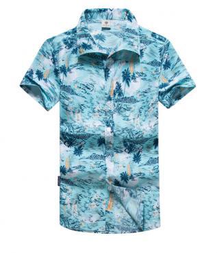 Pánská košile s letním potiskem - Modrá Velikost: XS