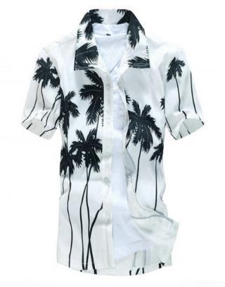 Pánská košile s potiskem palem - 2 barvy Barva: bílá, Velikost: S