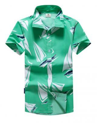 Pánská košile s potiskem plachetnic - Zelená Velikost: XS