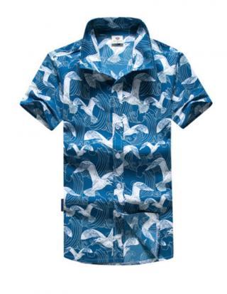 Pánská košile s potiskem racků - Modrá Velikost: XS