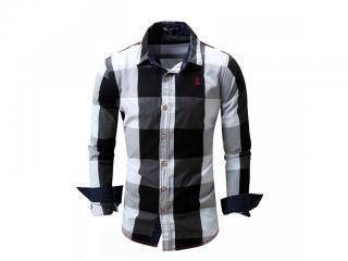 Pánská kostkovaná košile - 4 barvy Barva: tmavě šedá, Velikost: XS