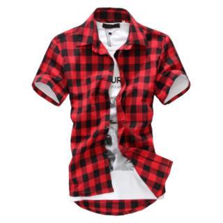 Pánská kostkovaná košile Barva: červená, Velikost: XS