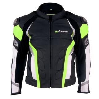 Pánská Kožená Moto Bunda W-Tec Velocity  Černá-Fluo  S S