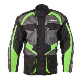 Pánská Moto Bunda W-Tec Burdys Gs-1613  Černo-Šedo-Zelená  M M