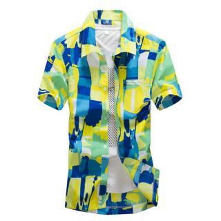 Pánská pestrobarevná košile - 2 barvy Barva: žlutá, Velikost: S