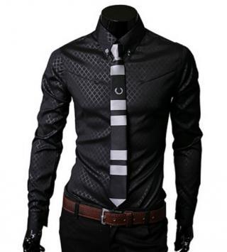 Pánská společenská košile - 5 barev Barva: černá, Velikost: XS
