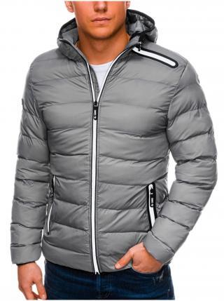 Pánská zimní prošívaná bunda C451 - šedá pánské M